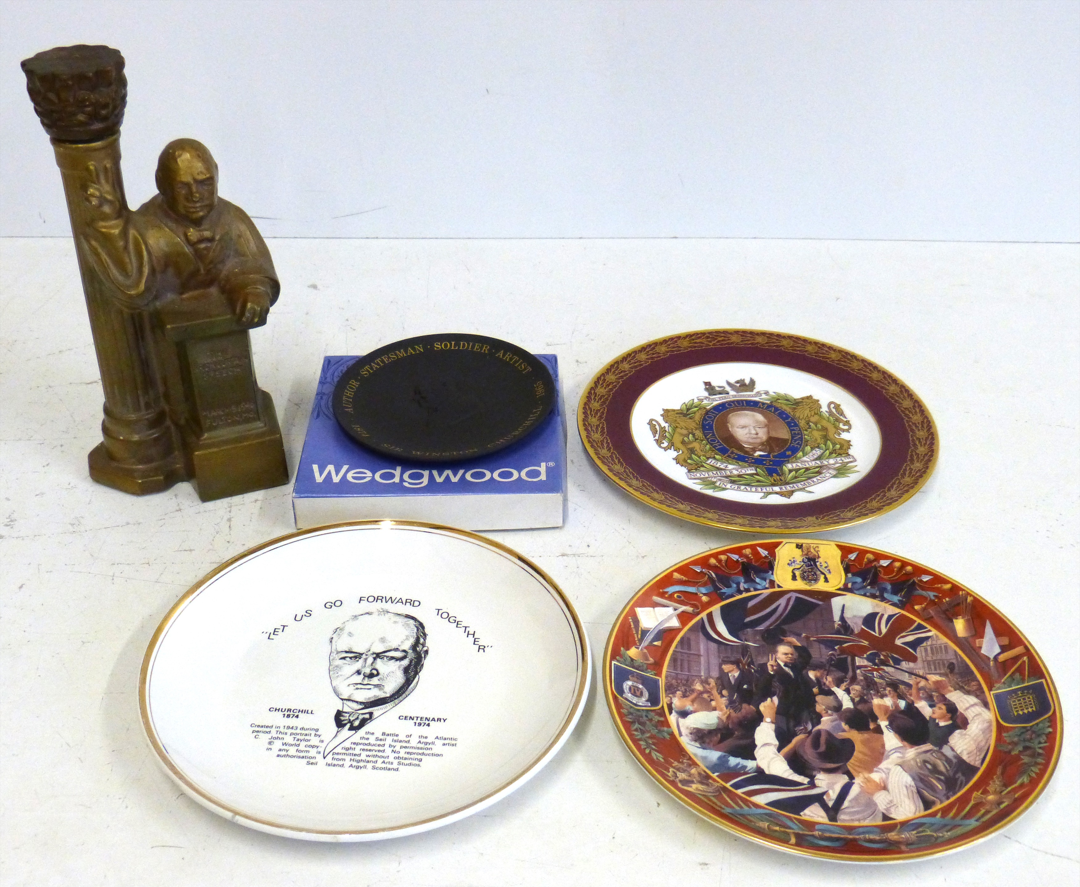 Lot 115 - Churchill Commemorative ware, to include an Iron Curtain Speech 1946 decanter and stopper, and