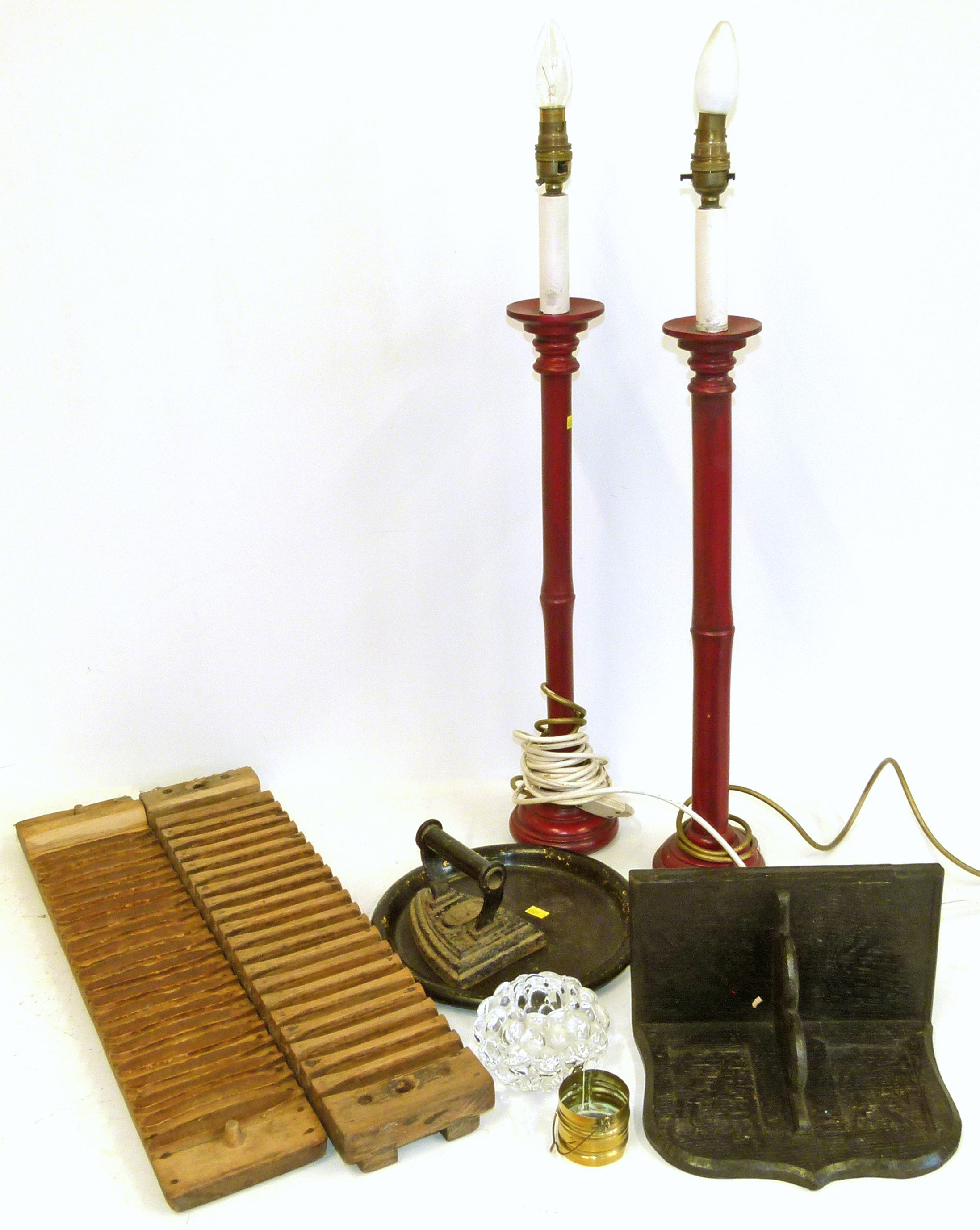 Lot 47 - Twenty division cigar press, wall bracket, pair of table lamps etc. We are unable to do condition
