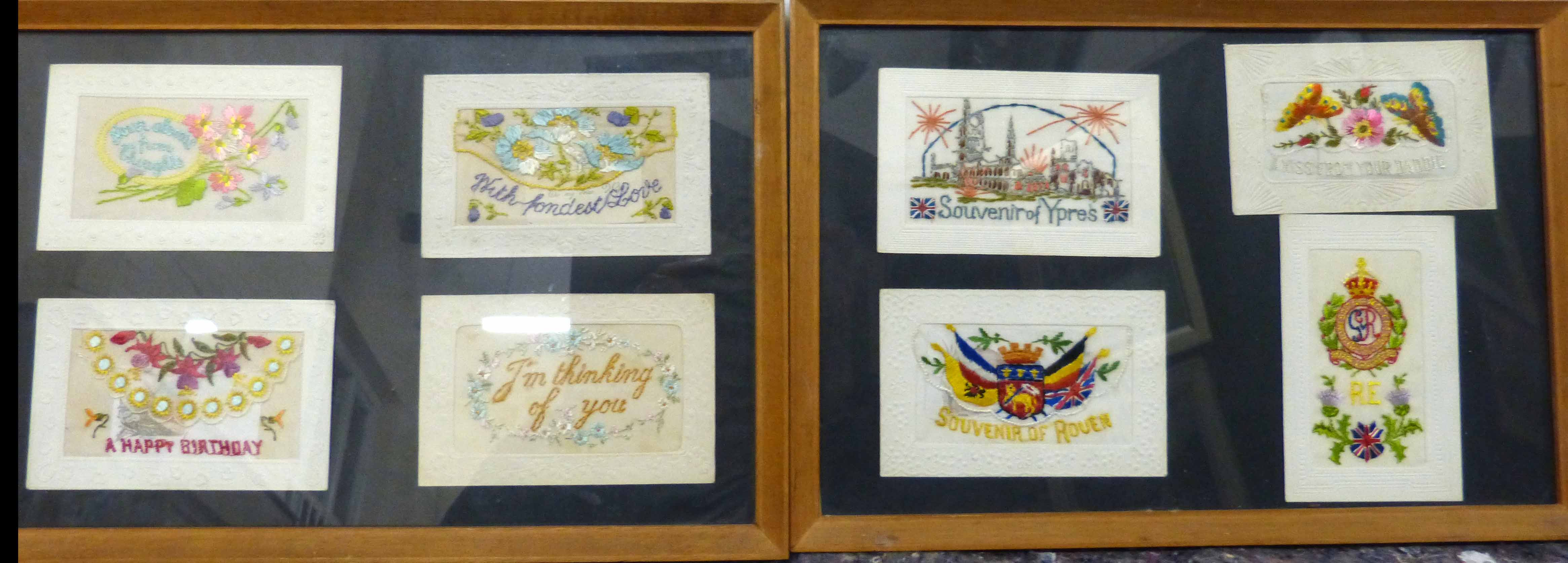 Lot 62 - 8 framed wartime silk postcards We are unable to do condition reports on our Interiors Sale