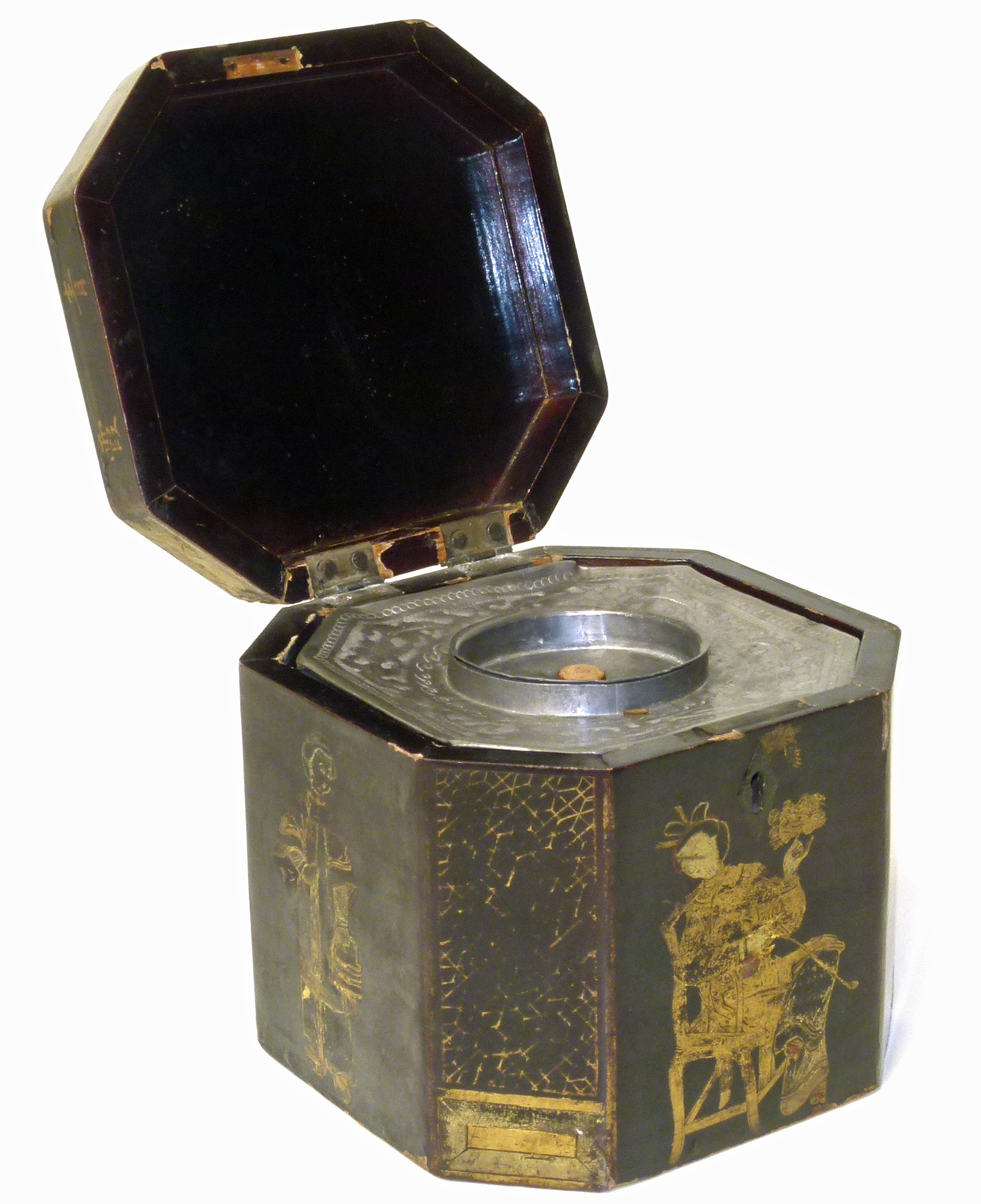Lot 59 - 19th century lacquered lead lined tea caddy with gilt decorations depicting oriental figure We are