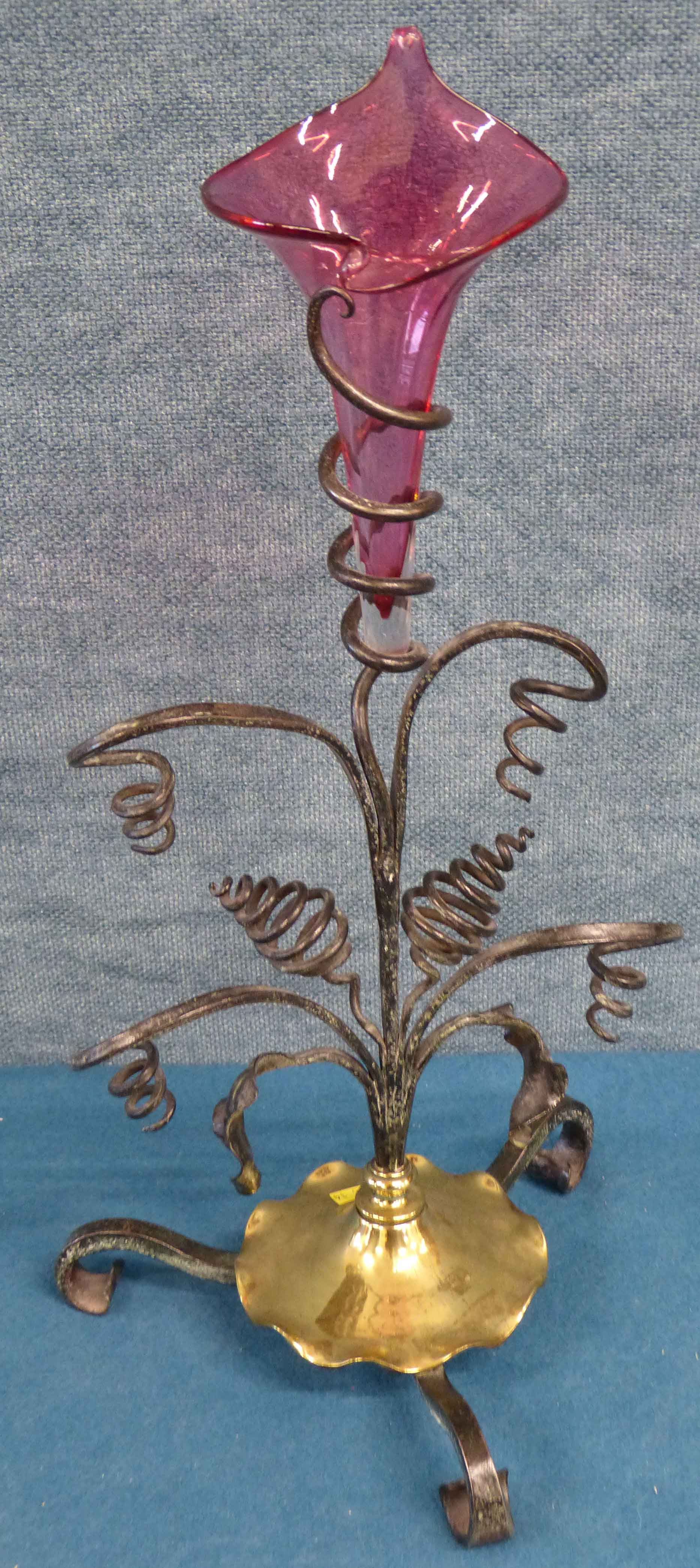 Lot 113 - Wrought iron and cranberry glass epergne 41cm We are unable to do condition reports on our Interiors