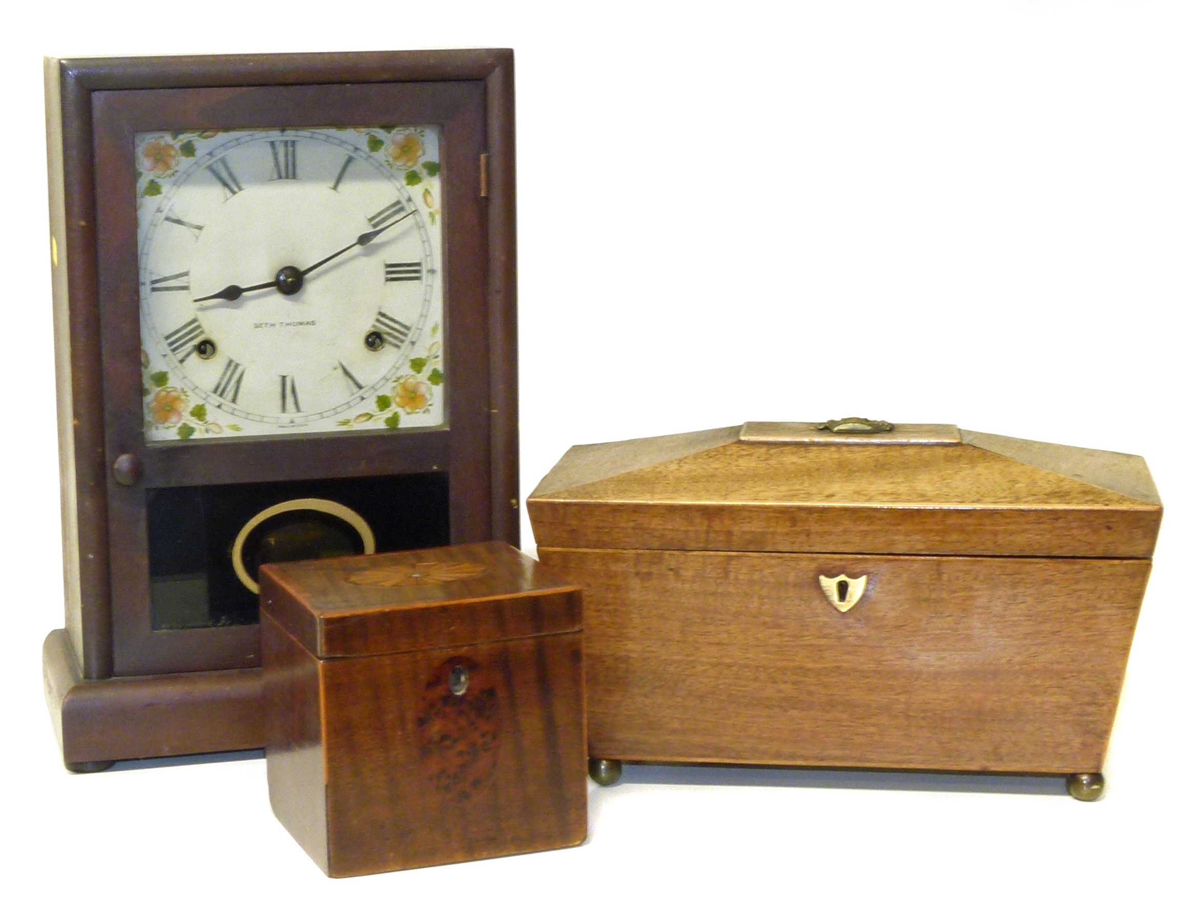 Lot 58 - Seth Thomson American style mantle clock 19th century sarcophagus shaped caddy and small square