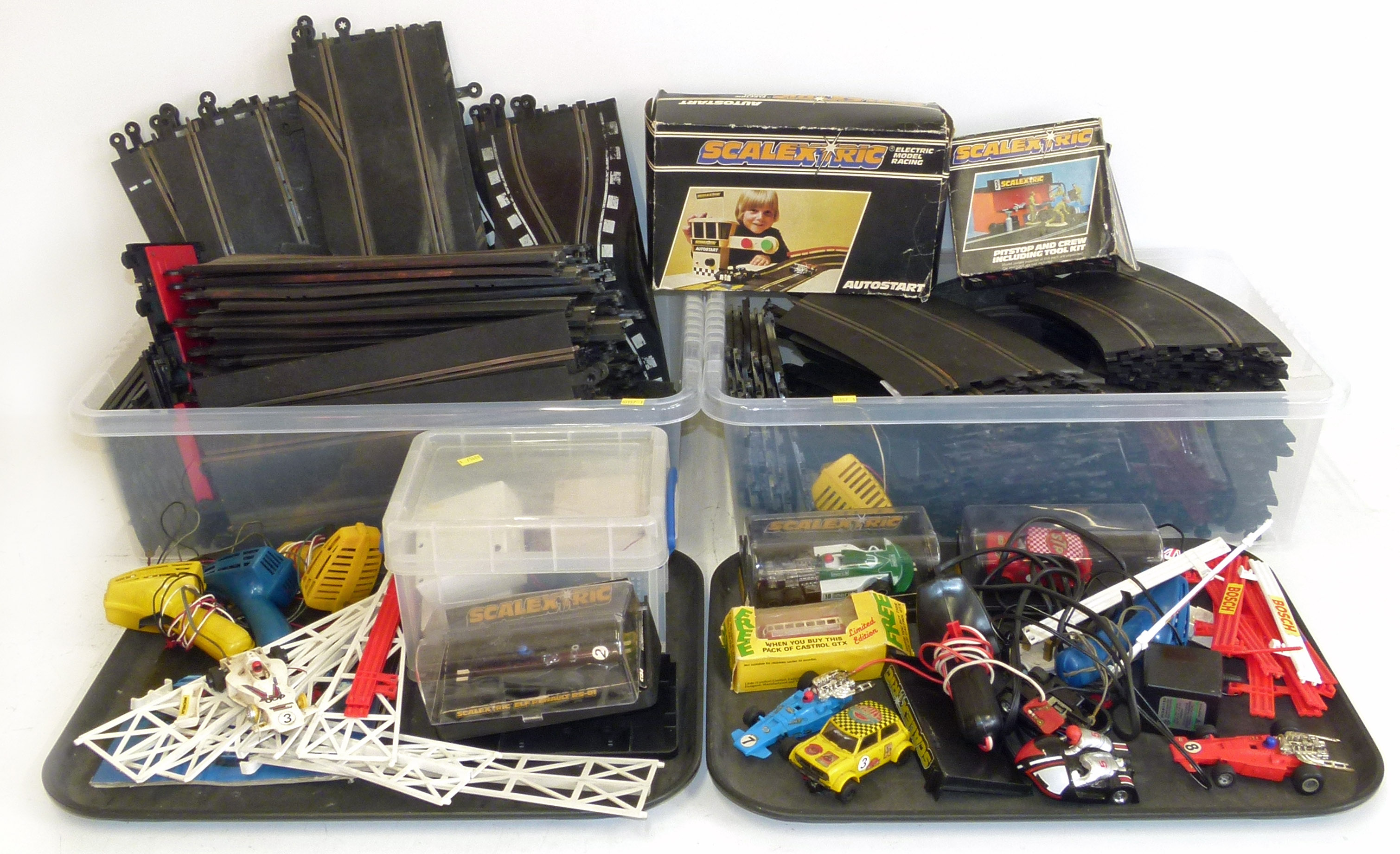 Lot 105 - Large quantity of Scalextric track and accessories and car. We are unable to do condition reports on