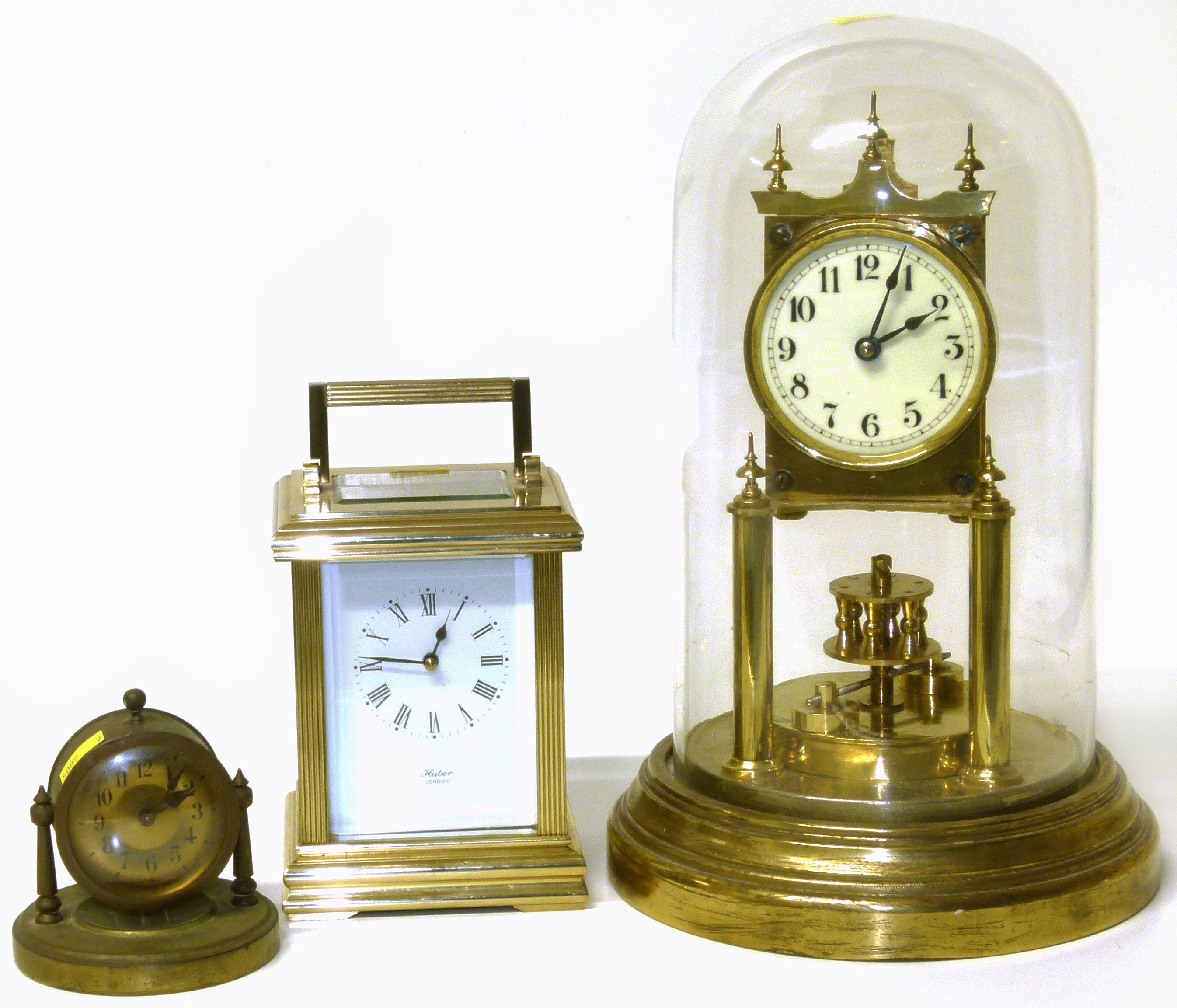 Lot 78 - Gustav Becker clock under dome, Huber carriage clock and one other We are unable to do condition