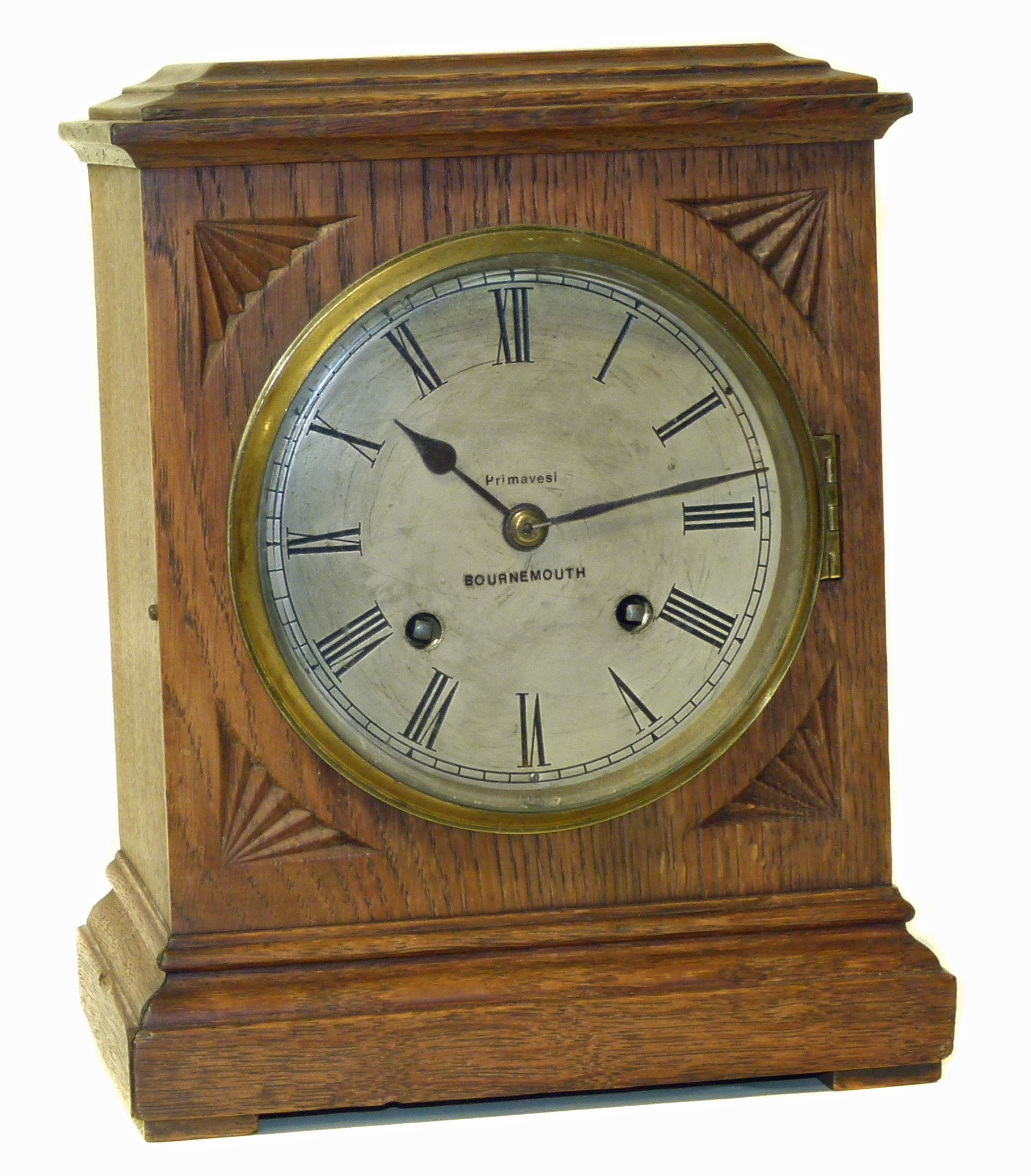 Lot 76 - Edwardian mantle clock with oak case and two train movement We are unable to do condition reports on