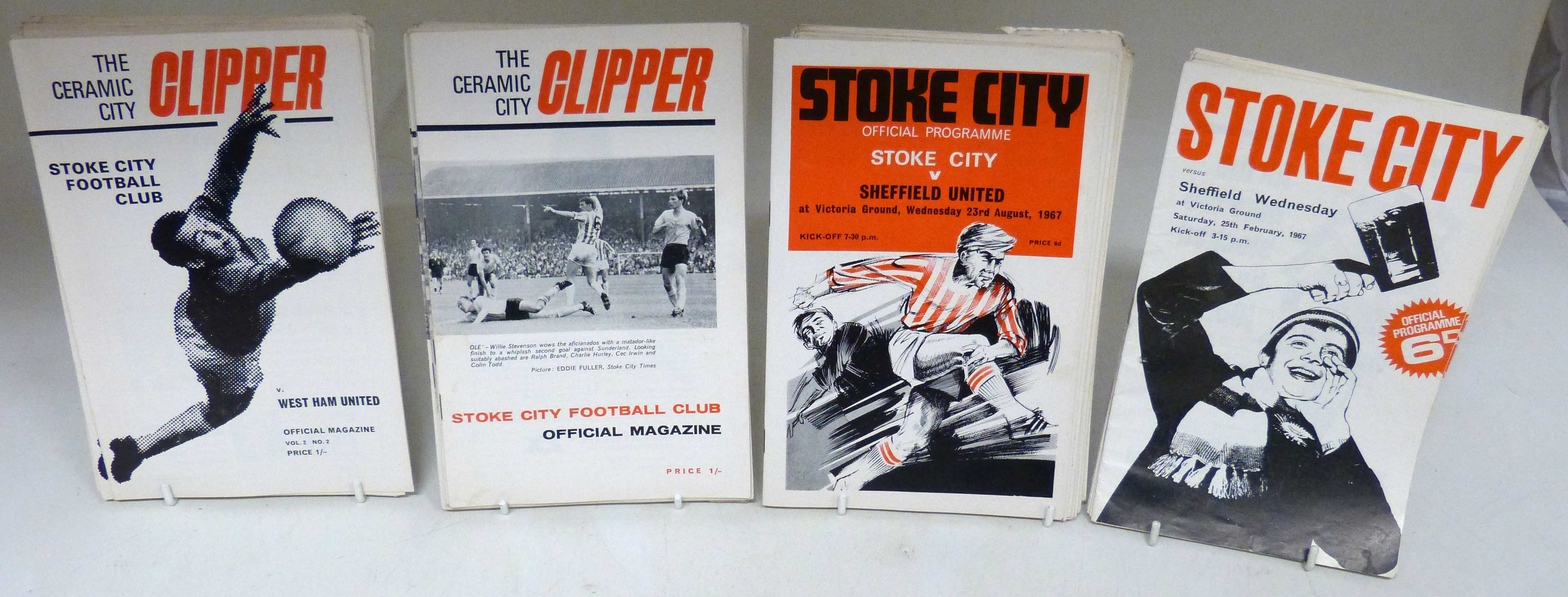 Lot 42 - 16 Stoke City programmes (The Ceramic City Clipper) from 1968, 19 from 1969, 6 programmes from