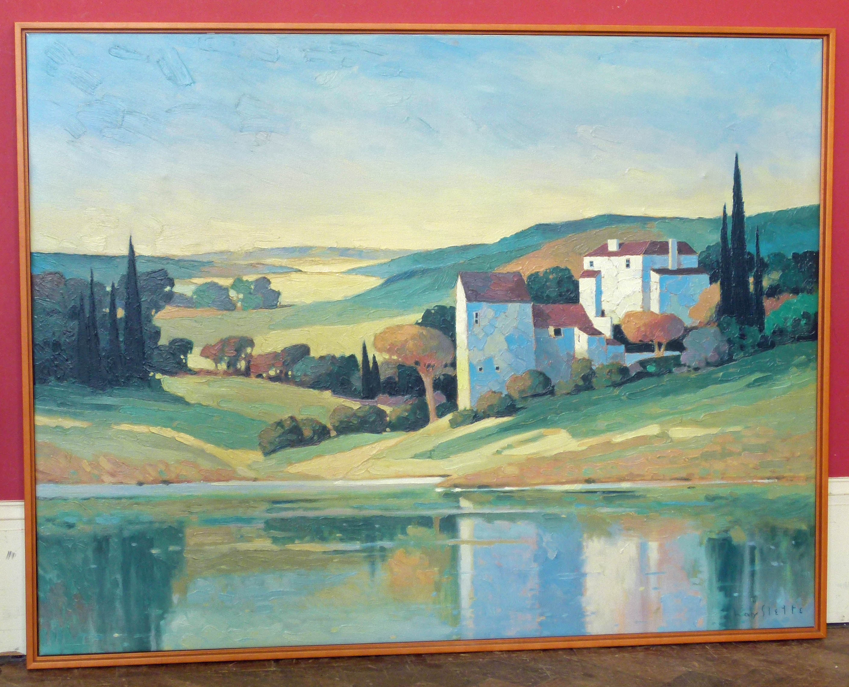 Lot 4 - Max Hayslette oileograph of Tuscan landscape We are unable to do condition reports on our