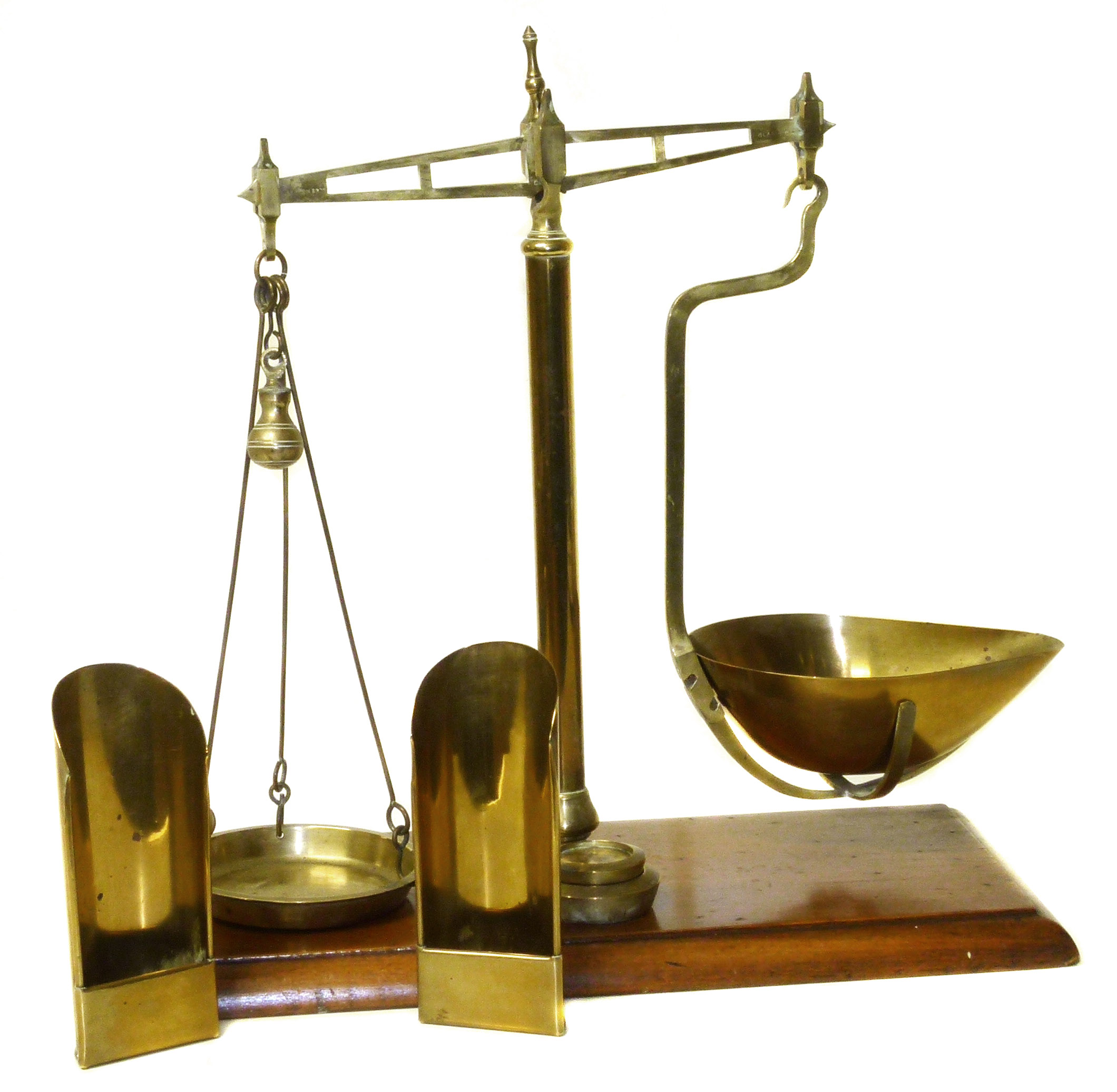 Lot 64 - Set brass balance scales by Henderson Brothers. Glasgow, two weights (8oz & 4ox) and two scoops