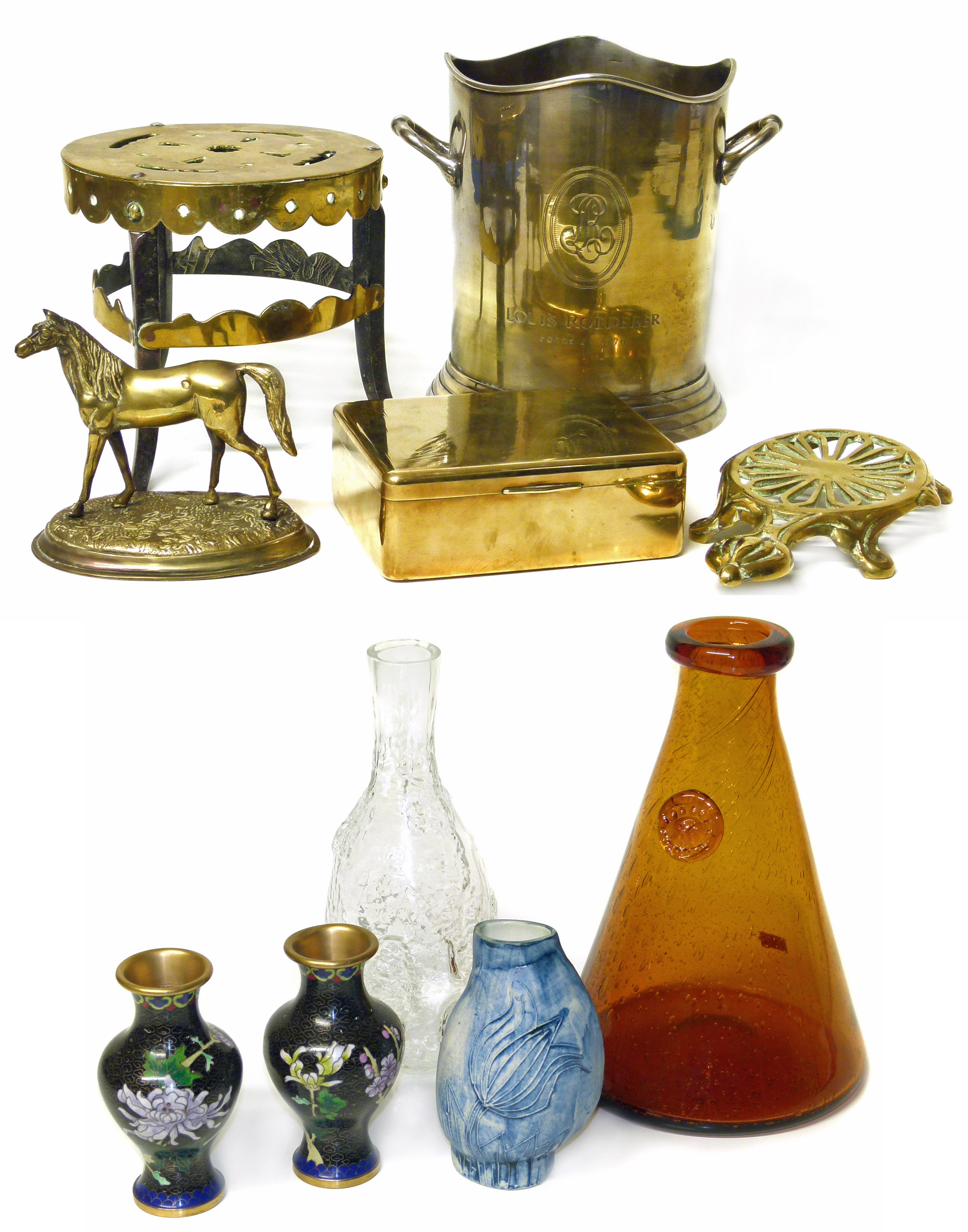 Lot 74 - A collection of brass and plated ware, also a Swedish glass decanter, two Cloisonne vases and the