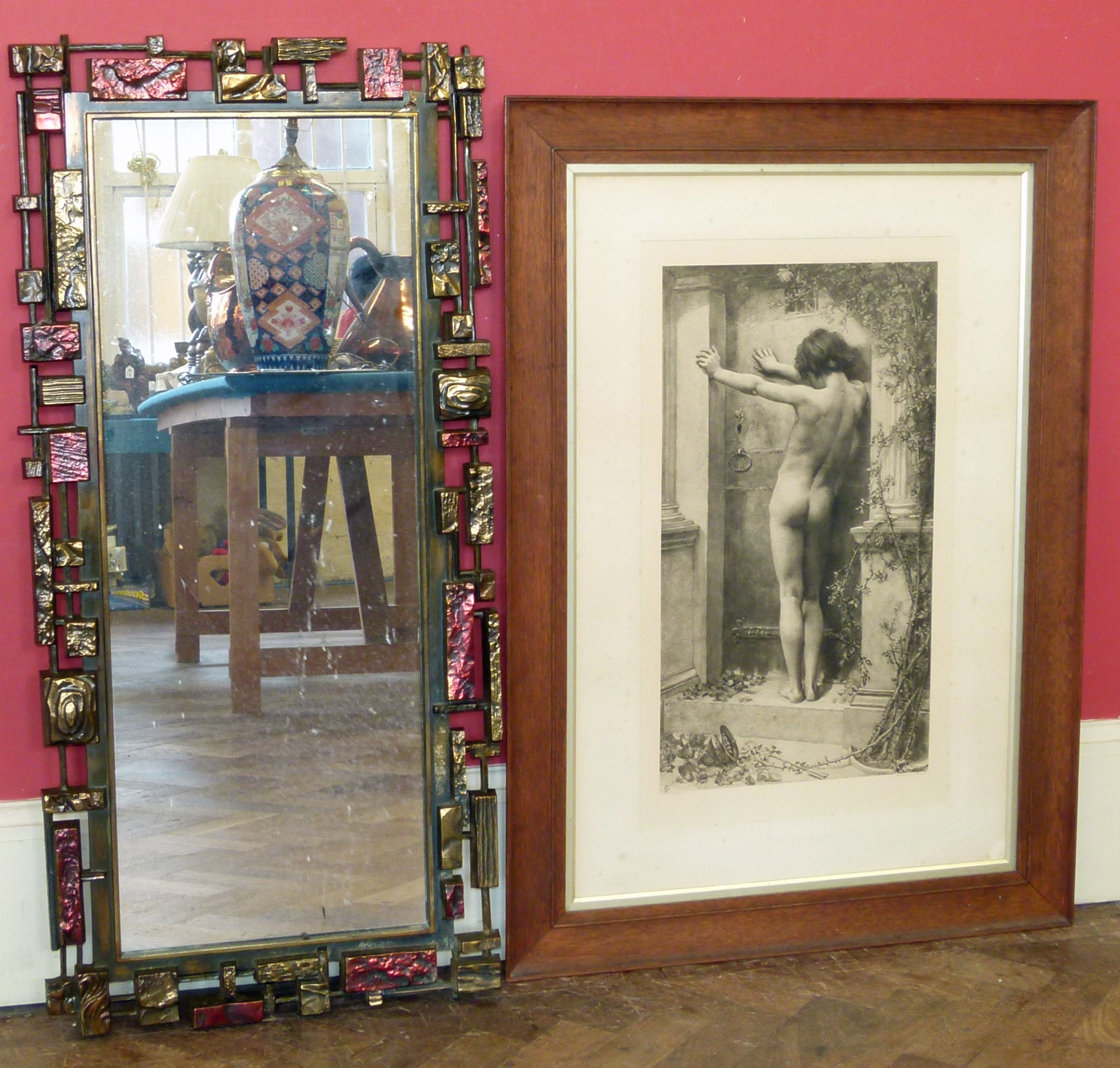"""Lot 12 - Burlington proof sepia print of young boy titled """"Love Locked Out"""" in oak frame and modern mirror We"""