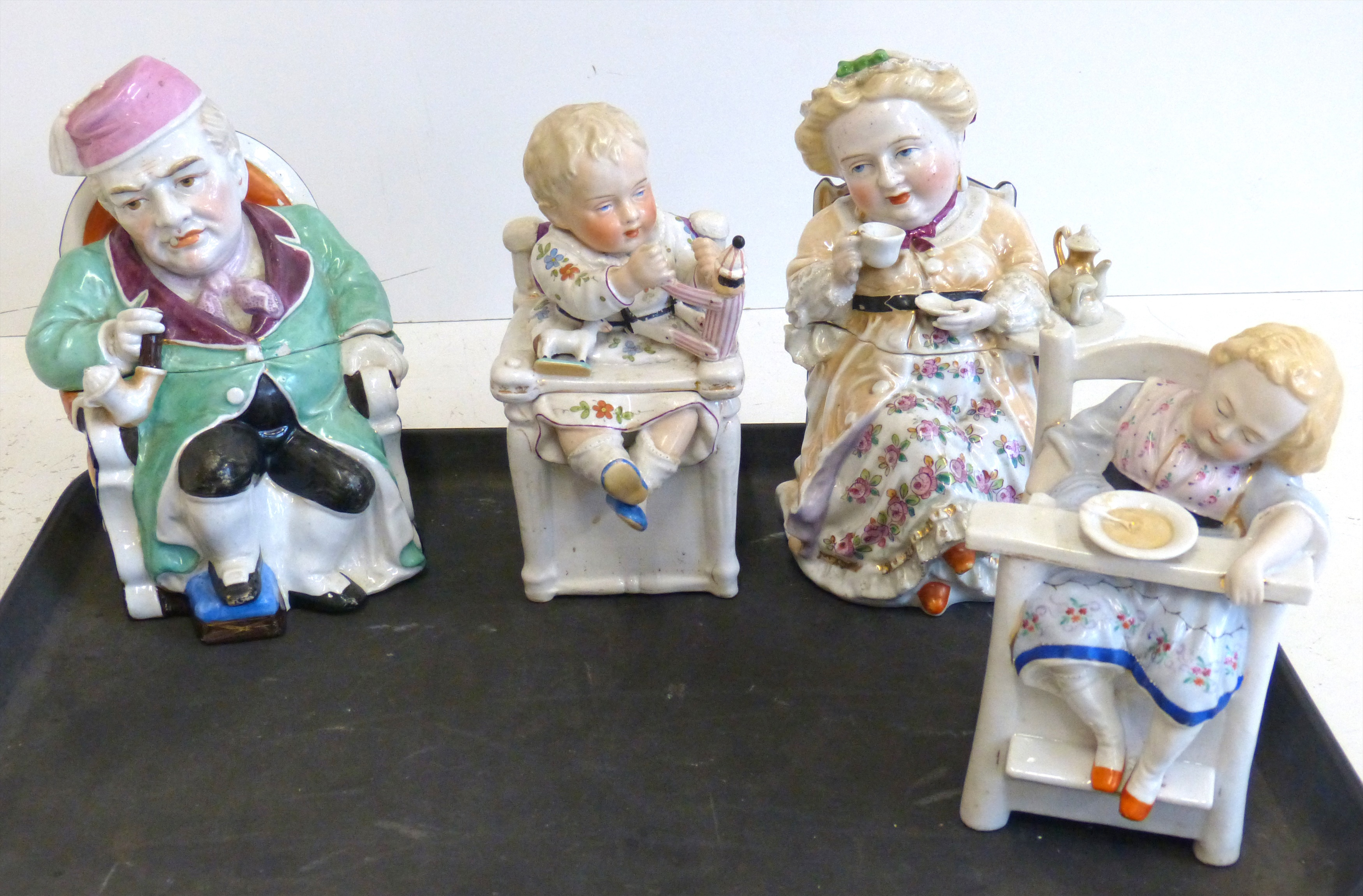 Lot 116 - Four Contra Boehme tobacco porcelain jars the largest measures 21cm high We are unable to do