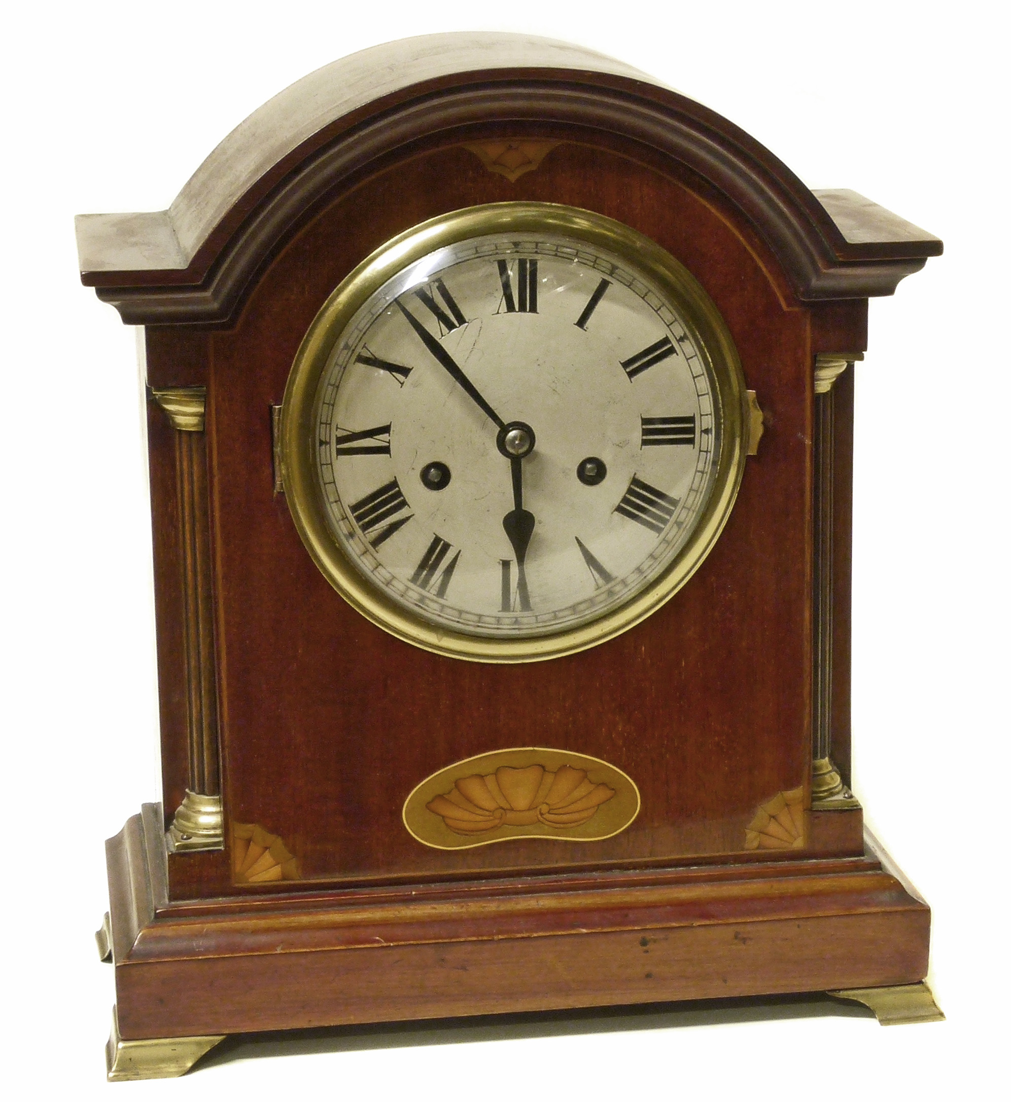 Lot 79 - Edwardian mahogany and shell inlaid 8-day mantle clock We are unable to do condition reports on