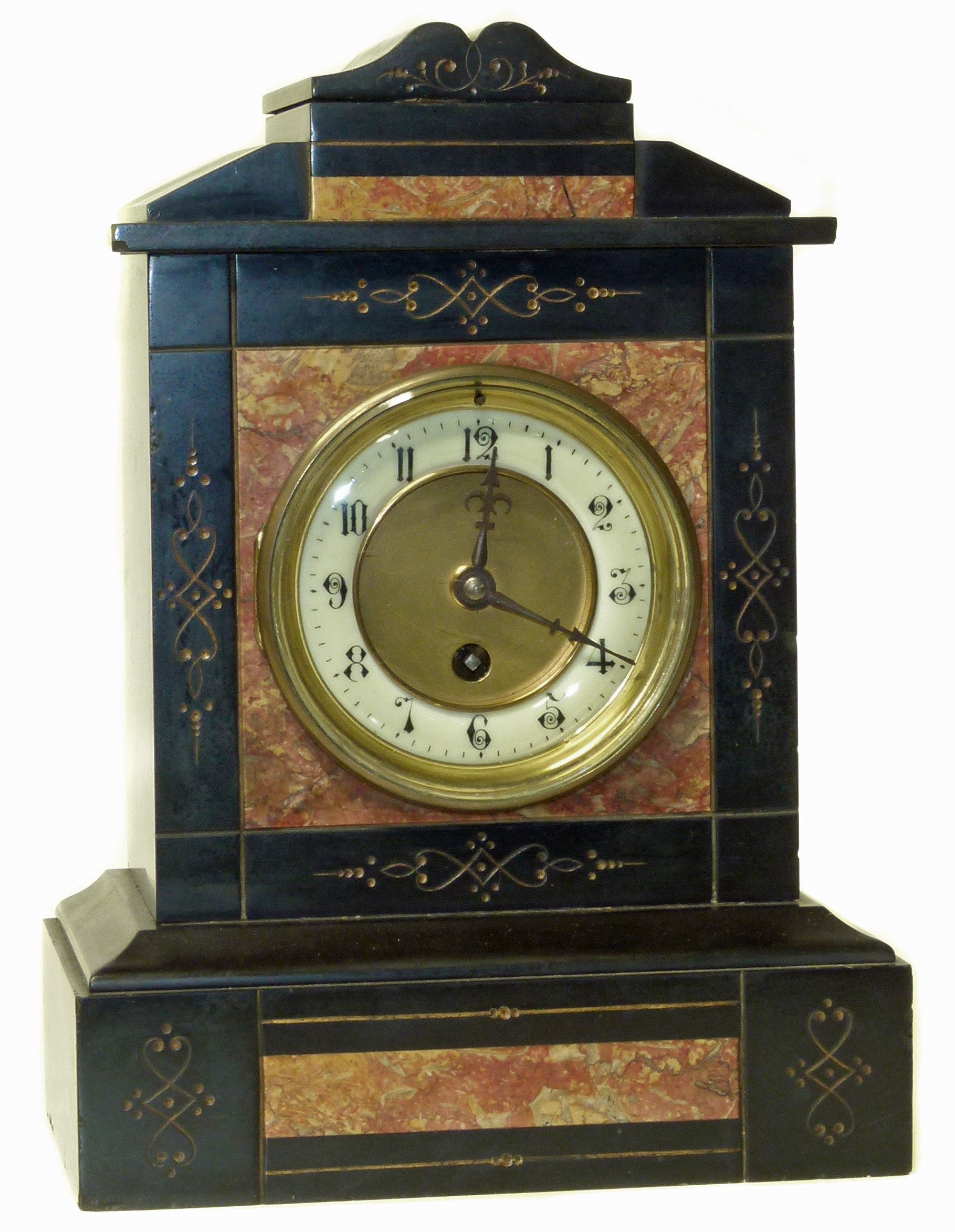 Lot 75 - Edwardian mantle clock with an 8-day movement, slate clock We are unable to do condition reports