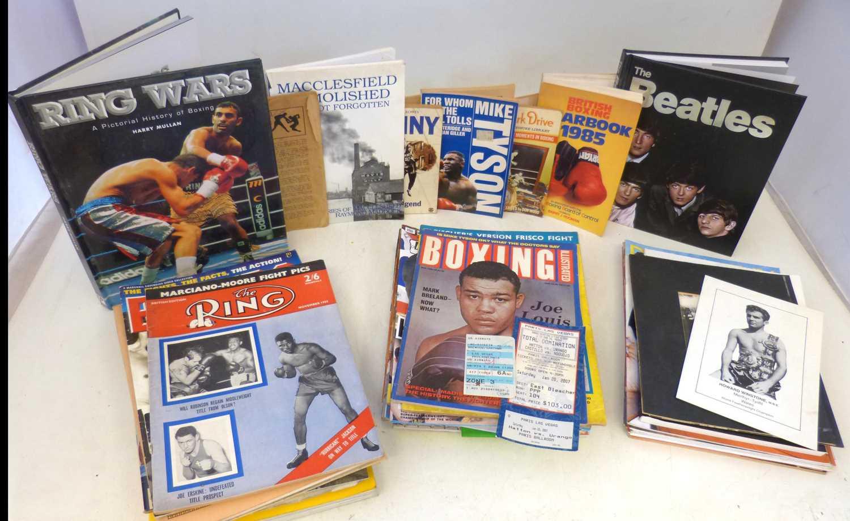 Lot 155 - Howars Winstone signed book Nat Fleischer, Henry Cooper and Benny books, 1993 Boxing newspaper, quan