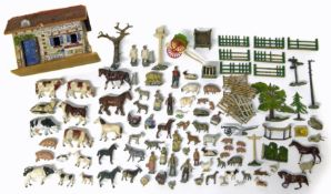 Collection of lead farm animals and a barn possibly by Britains