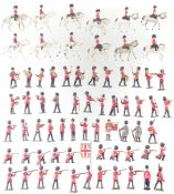 Fifty seven metal British infantry soldiers by J. Hill and Co. and twelve mounted troopers.