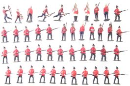 Forty four British army metal soldiers by J. Hill and Co. and Britains.