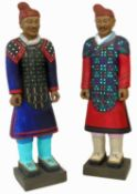 Two handpainted life-size figures of Chinese foot soldiers