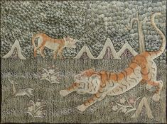 Needlework picture, Tigers.