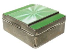 An early 20th century silver and enamel cigarette box,
