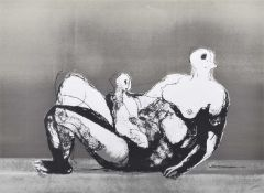 "Henry Moore O.M., C.H., F.B.A. (British 1898-1986) ""Reclining Mother and Child with Grey Background"""