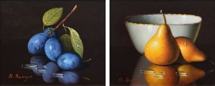 Ronald Berger (Austrian 1943-) Still life studies of plums and pears