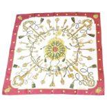 "A Hermès ""Les Cles"" silk scarf by Cathy Latham,"