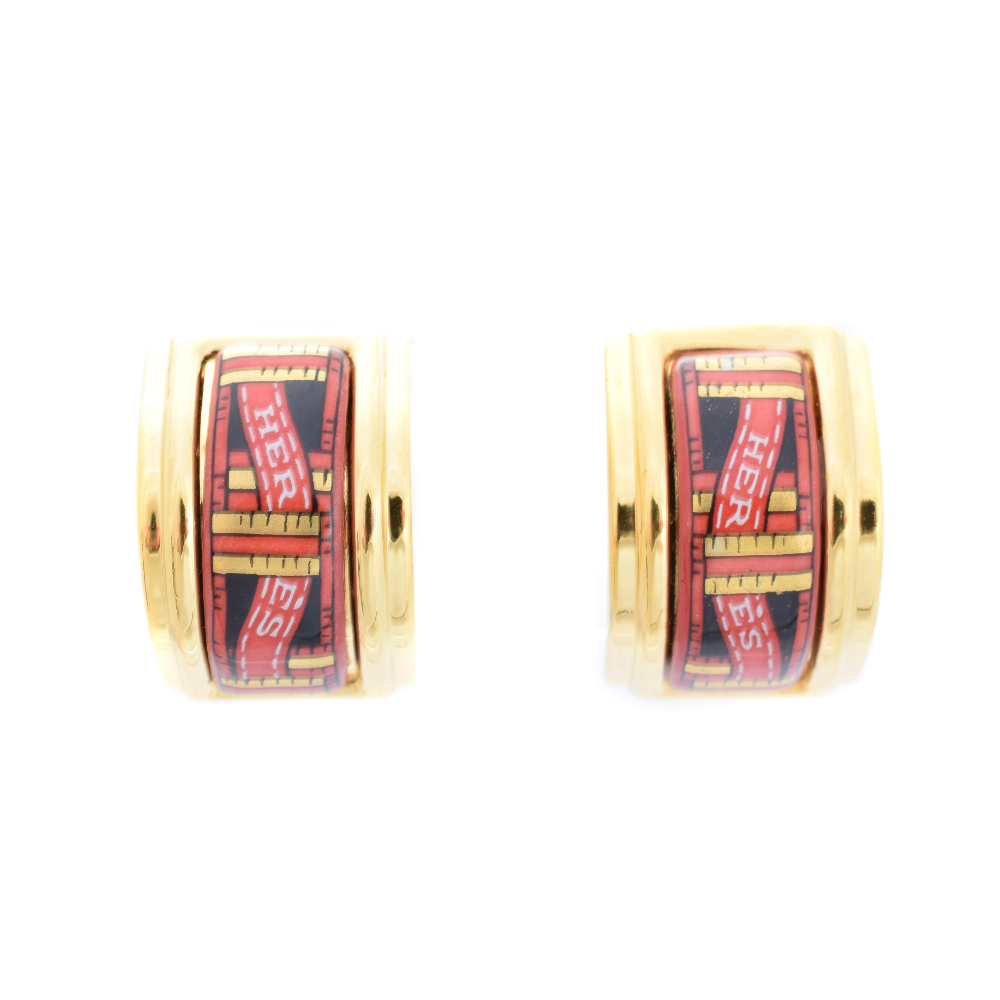 A pair of Hermes logo ribbon earrings, - Image 2 of 2