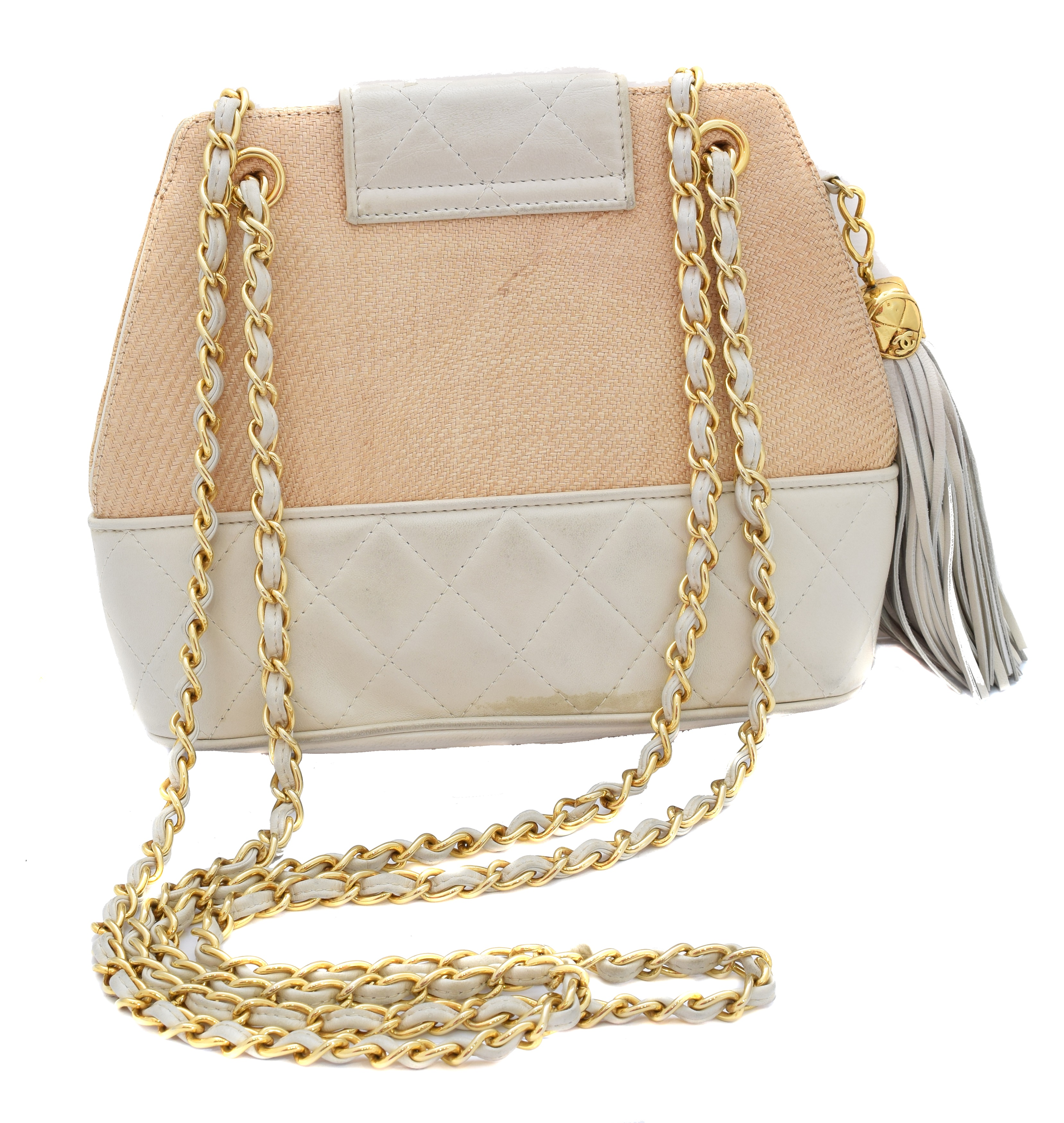 A Chanel Straw Canvas Shoulder Bag, - Image 2 of 2