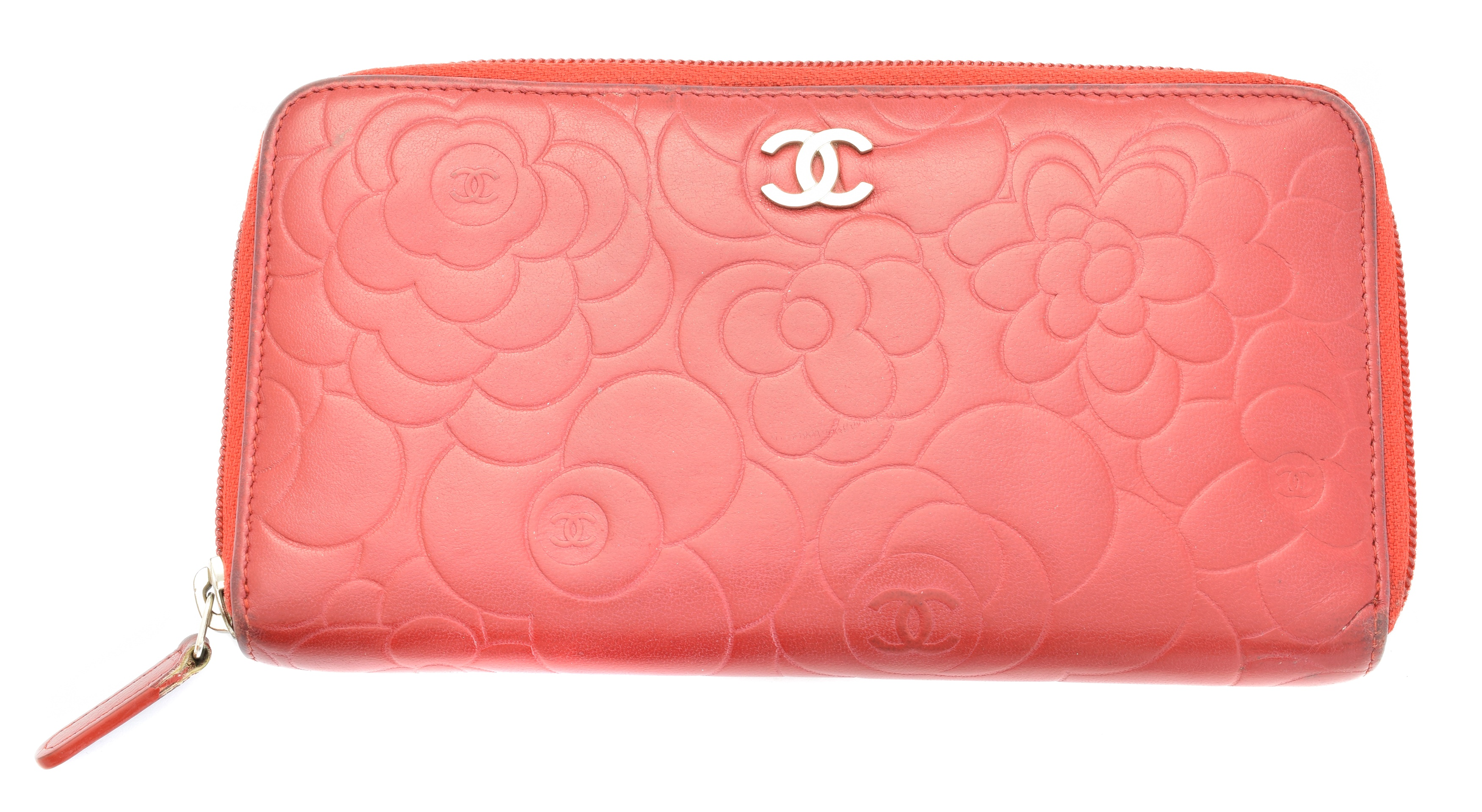 A Chanel Floral Embossed Zip Around Wallet,