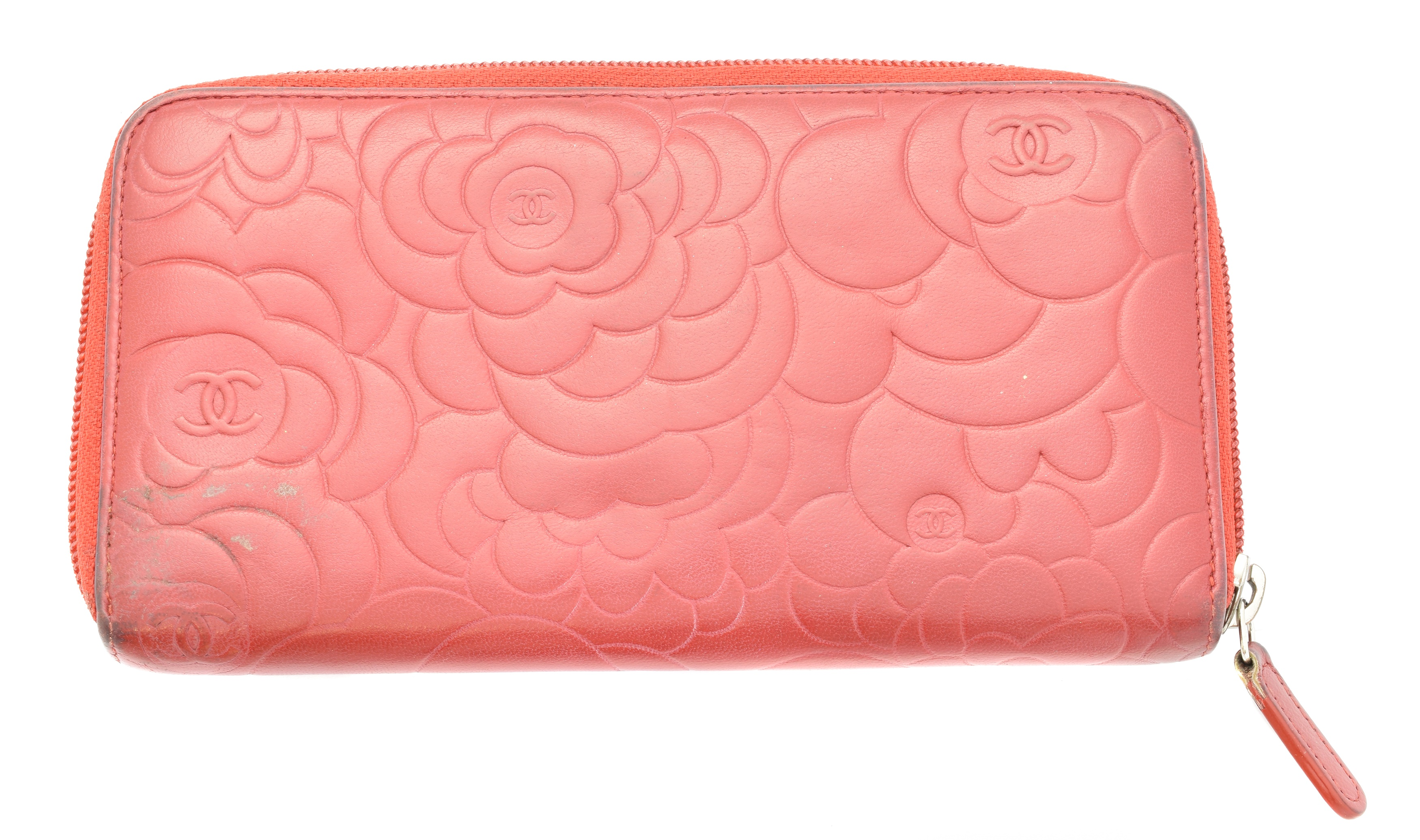 A Chanel Floral Embossed Zip Around Wallet, - Image 2 of 2