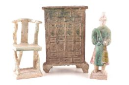 Ming period Chinese pottery figure, a chair and a model wardrobe / cabinet