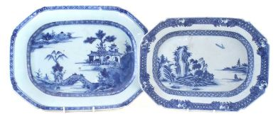 Two Chinese export porcelain meat plates,