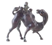 Bronze model of a camel and monkey