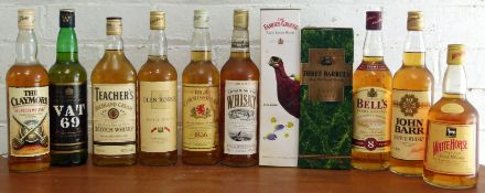 11 Bottles Mixed Lot Proprietary Scotch Whisky, Canadian Whisky and French Brandy