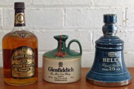 3 Bottles (incl. one 1.14 Litre) Whiskies from 1970's