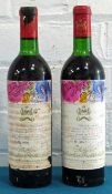 2 Bottles Chateau Mouton Rothschild Premier Grand Cru Classe Pauillac 1970