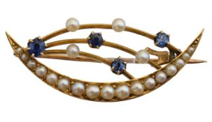 An early 20th century crescent brooch,