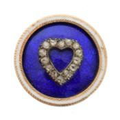 A diamond and enamel jewellery component,