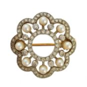 An early 20th century seed pearl and diamond brooch,