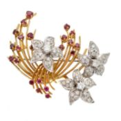 A 1960s 18ct gold diamond and ruby brooch by Ben Rosenfeld,