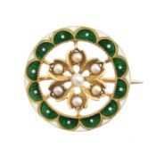 An early 20th century enamel and pearl brooch,