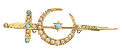An early 20th century split pearl crescent brooch,