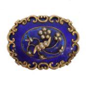 A Victorian enamel diamond and split pearl brooch,
