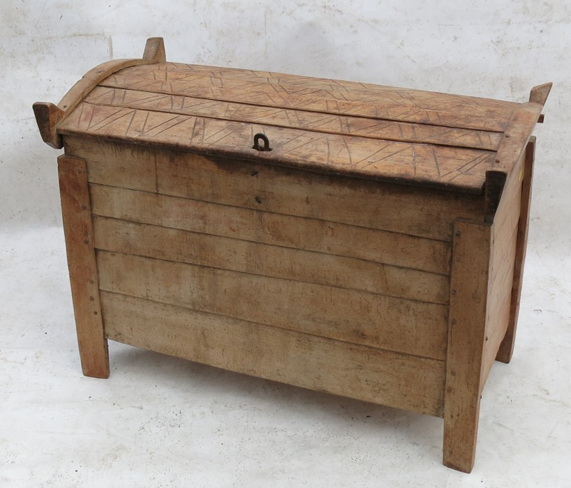 Lot 50 - Acontinentallate 19th century beech grain or marriage chest, with slightly domed rising lid and