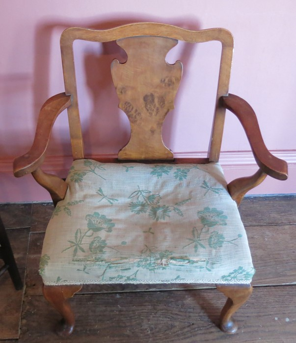 Lot 8 - A Georgian design child's open armchair, with vase splat back, together with a child's corner
