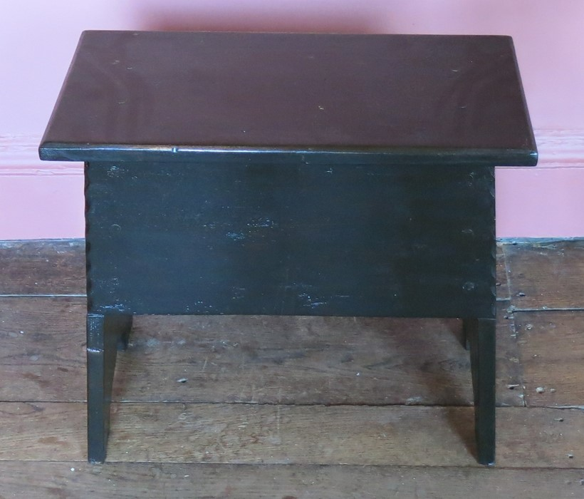 Lot 5 - A box stool, with plank ends and sides, with chip carving, width 20ins
