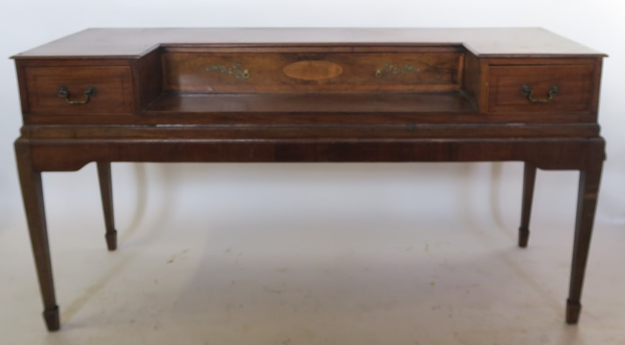 Lot 58 - A 19th century mahogany desk, converted from a square piano, with painted and inlaid decoration,