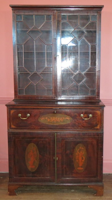 Lot 6 - An 18th century mahogany secretaire bookcase, with astragal glazed doors to the upper section, the