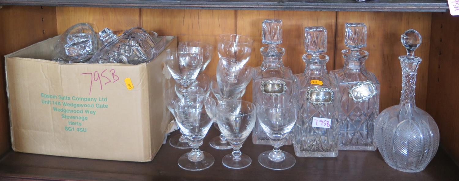Three Silver Bottle Labels and decanters (two stoppers damaged), other decanters, cut crystal and